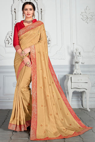 Bhelpuri Gold Poly Silk Embroidered Traditional Saree with Blouse Piece