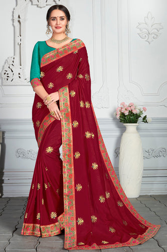 Bhelpuri Maroon Poly Silk Embroidered Traditional Saree with Blouse Piece