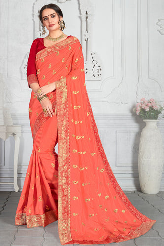 Bhelpuri Orange Poly Silk Embroidered Traditional Saree with Blouse Piece