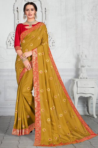 Bhelpuri Yellow Poly Silk Embroidered Traditional Saree with Blouse Piece
