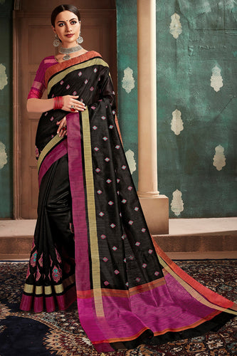 Bhelpuri Black Cotton Handloom Work Traditional Saree with Blouse Piece