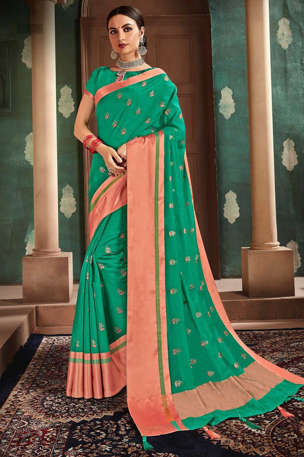 Bhelpuri Green Cotton Handloom Work Traditional Saree with Blouse Piece