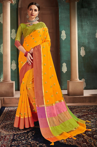 Bhelpuri Yellow Cotton Handloom Work Traditional Saree with Blouse Piece