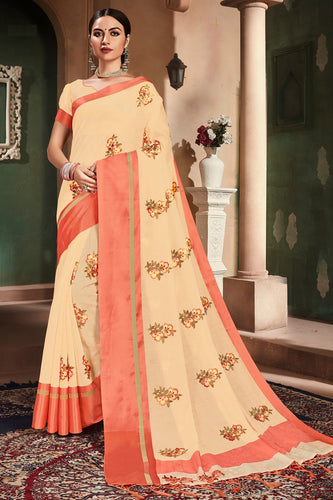 Bhelpuri Beige Cotton Handloom Work Traditional Saree with Blouse Piece