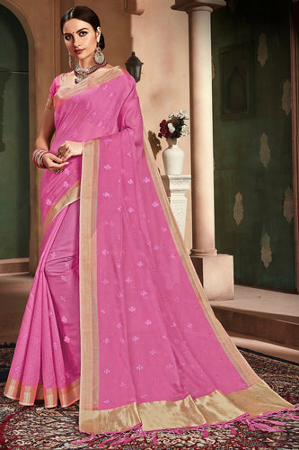 Bhelpuri Pink Cotton Handloom Work Traditional Saree with Blouse Piece