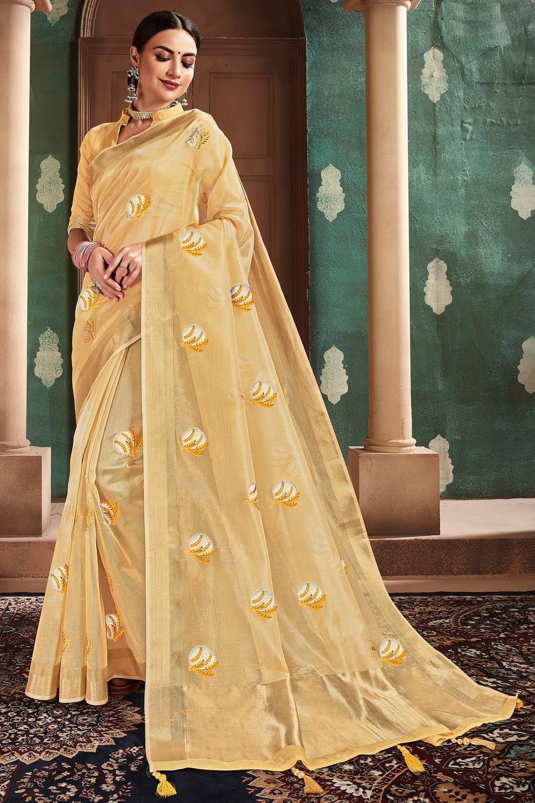 Bhelpuri Gold Cotton Handloom Work Traditional Saree with Blouse Piece