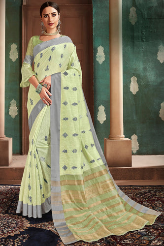Bhelpuri Light Green Cotton Handloom Work Traditional Saree with Blouse Piece