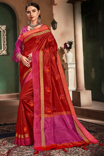 Bhelpuri Red Cotton Handloom Work Traditional Saree with Blouse Piece