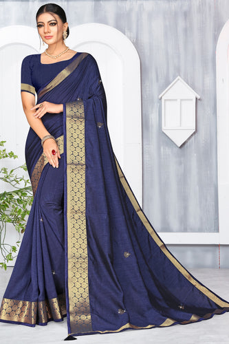Bhelpuri Blue Vichitra silk Lace with stone Work Traditional Saree with Blouse Piece
