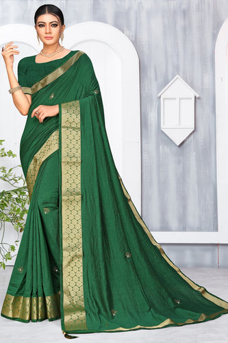 Bhelpuri Green Vichitra silk Lace with stone Work Traditional Saree with Blouse Piece