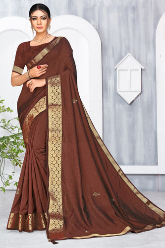 Bhelpuri Brown Vichitra silk Lace with stone Work Traditional Saree with Blouse Piece