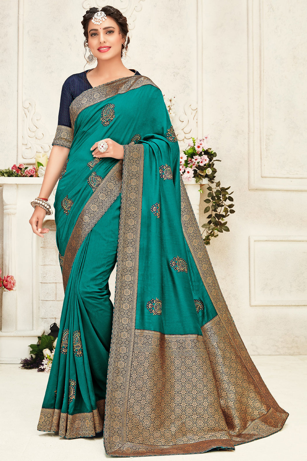 Bhelpuri Turqouis green Poly Silk Embroidered with jaqcard Pallu Traditional Saree with Blouse Piece