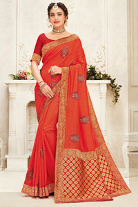 Bhelpuri Orange Poly Silk Embroidered with jaqcard Pallu Traditional Saree with Blouse Piece