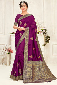 Bhelpuri Purple Poly Silk Embroidered with jaqcard Pallu Traditional Saree with Blouse Piece