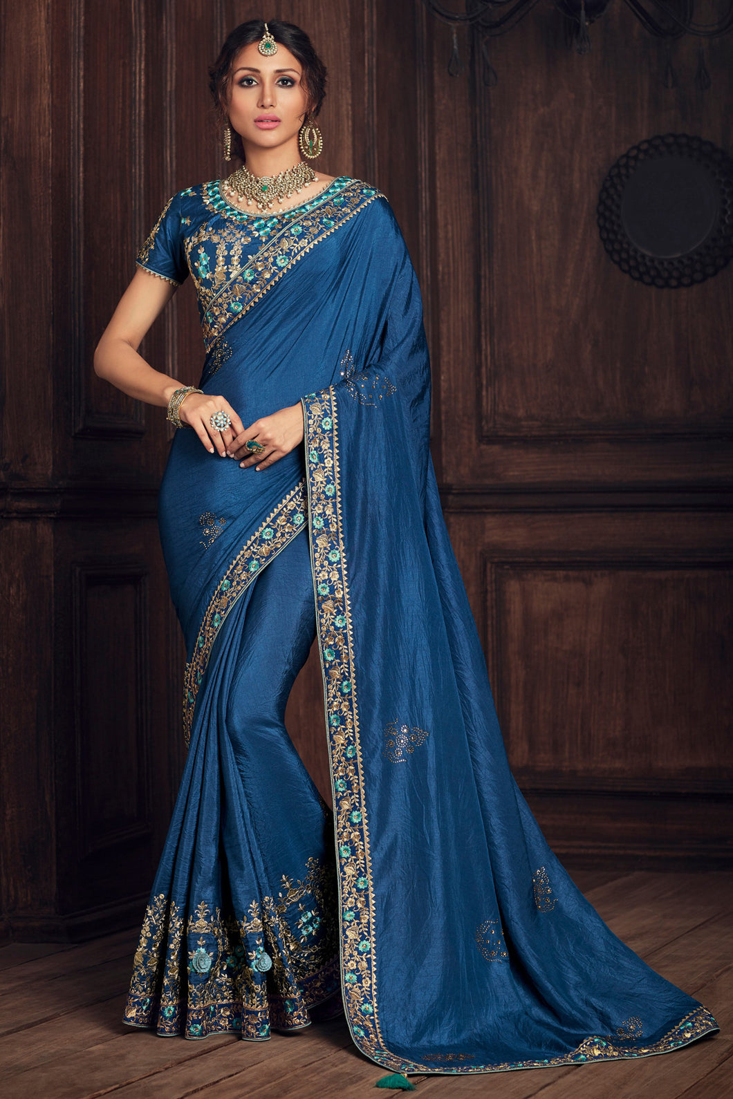 Bhelpuri Blue Poly Silk Embroidered Saree With Blouse Piece