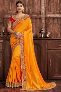 Bhelpuri Yellow Poly Silk Heavy Border Saree With Blouse Piece