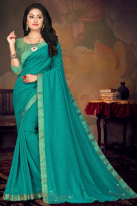 Bhelpuri Turquoise Green Vichitra silk Lace Work Traditional Saree with Blouse Piece