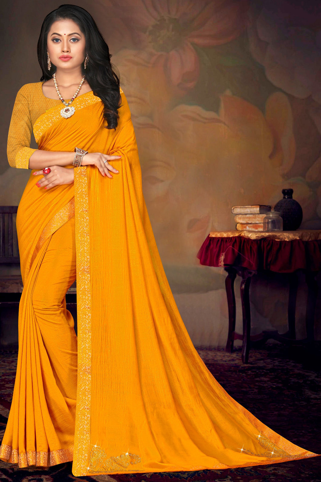 Bhelpuri Yellow Vichitra silk Lace Work Traditional Saree with Blouse Piece