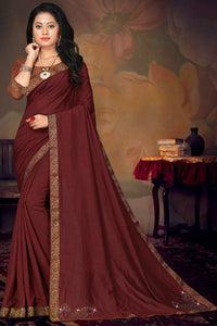 Bhelpuri Maroon Vichitra silk Lace Work Traditional Saree with Blouse Piece