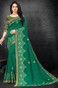 Bhelpuri Green Vichitra silk Embroidered Traditional Saree with Blouse Piece