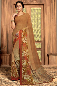 Bhelpuri Brown Georgette Printed Traditional Saree with Blouse Piece