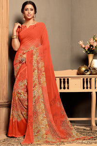 Bhelpuri Orange Georgette Printed Traditional Saree with Blouse Piece