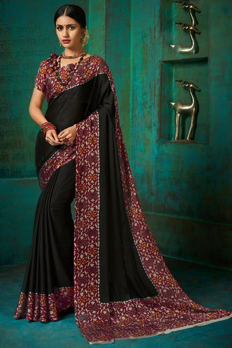 Bhelpuri Black Poly Chiffon Printed Saree with Blouse Piece