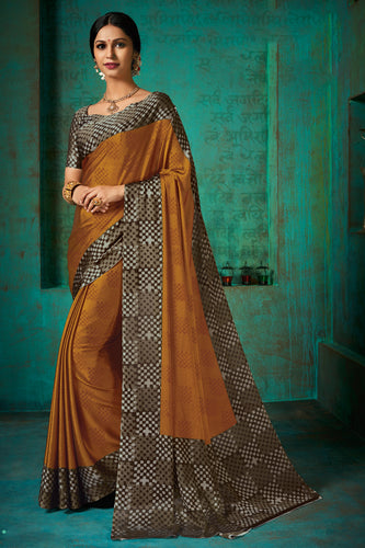 Bhelpuri Gold  Poly Chiffon Printed Saree with Blouse Piece