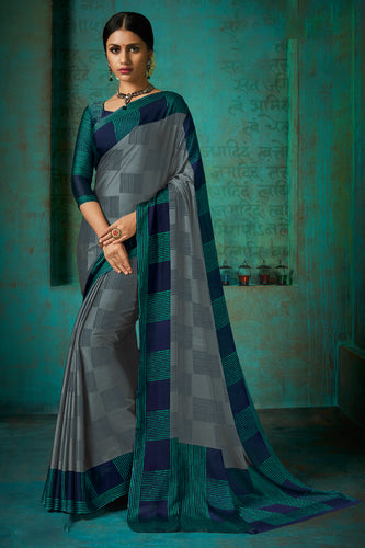 Bhelpuri Grey Poly Chiffon Printed Saree with Blouse Piece