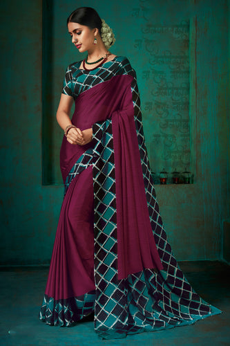 Bhelpuri Purple Poly Chiffon Printed Saree with Blouse Piece