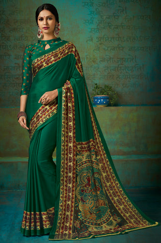 Bhelpuri Green Poly Chiffon Printed Saree with Blouse Piece