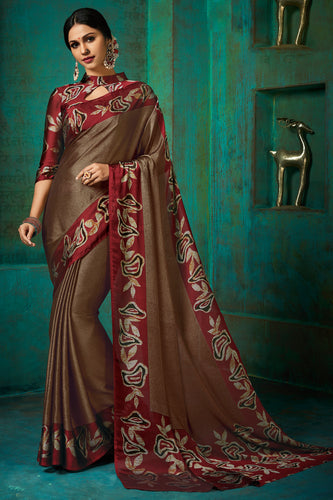 Bhelpuri Beige Poly Chiffon Printed Saree with Blouse Piece