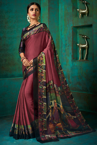 Bhelpuri Multi Poly Chiffon Printed Saree with Blouse Piece