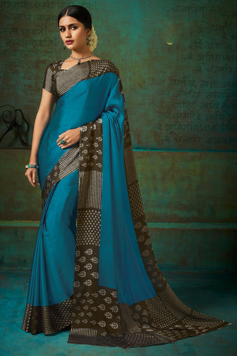 Bhelpuri Sea Green Poly Chiffon Printed Saree with Blouse Piece