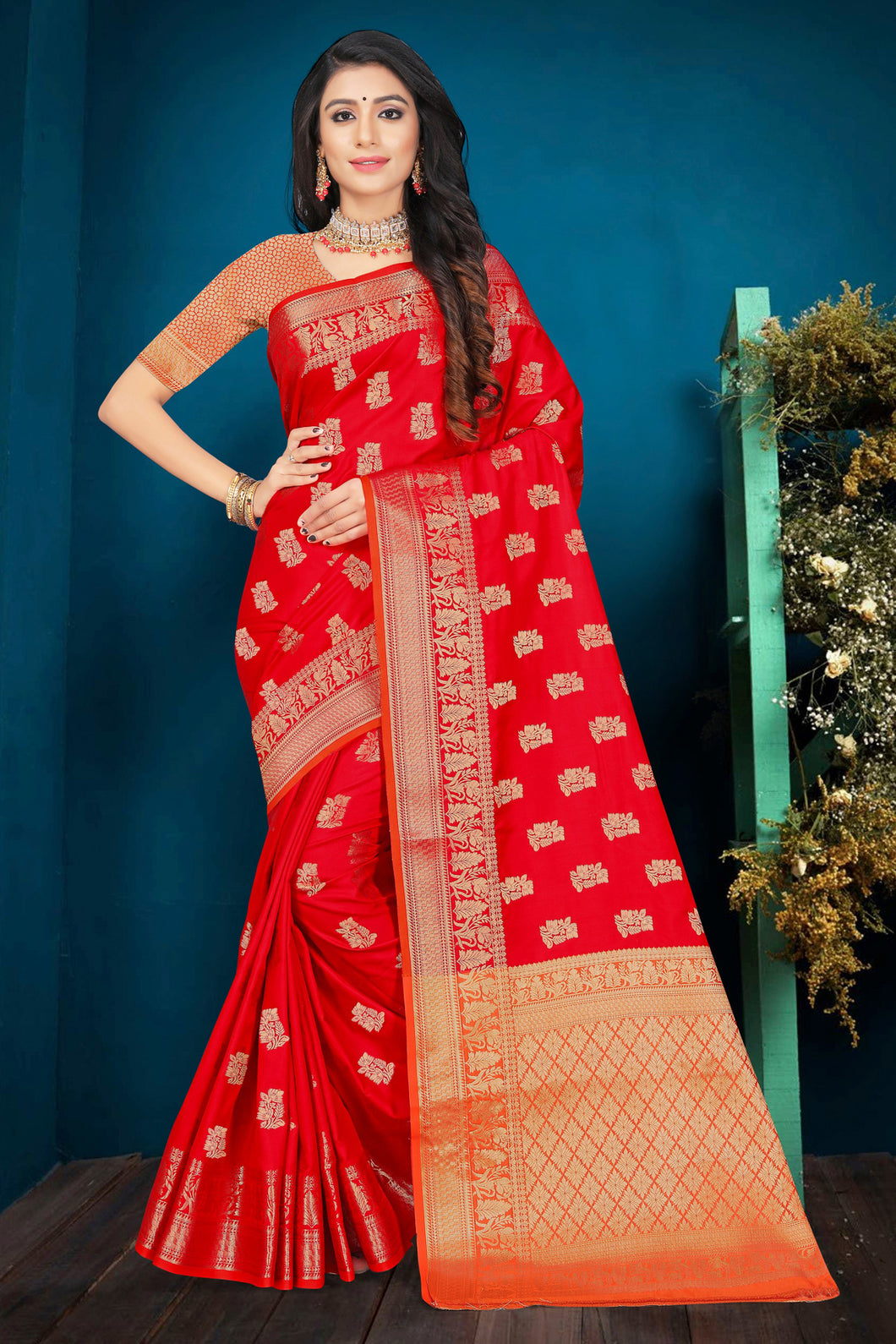 Bhelpuri Red Poly Silk Embroidered with jaqcard Border Saree with Blouse Piece
