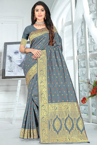Bhelpuri Grey Poly Silk Embroidered with jaqcard Border Saree with Blouse Piece