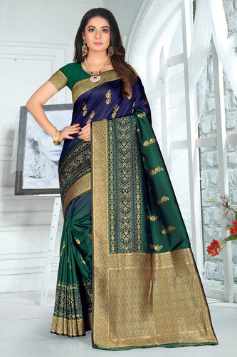 Bhelpuri Green Poly Silk Embroidered with jaqcard Border Saree with Blouse Piece