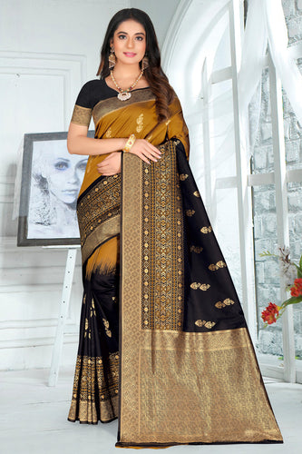 Bhelpuri Black Poly Silk Embroidered with jaqcard Border Saree with Blouse Piece