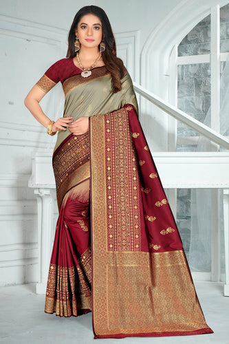 Bhelpuri Maroon Poly Silk Embroidered with jaqcard Border Saree with Blouse Piece