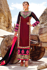 Bhelpuri Maroon Georgette, Net and Velvet Fancy Suit with Embroidery and Butta Work with Dupatta