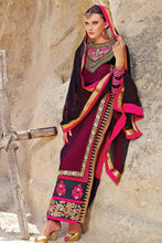 Load image into Gallery viewer, Bhelpuri Maroon Georgette, Net and Velvet Fancy Suit with Embroidery and Butta Work with Dupatta