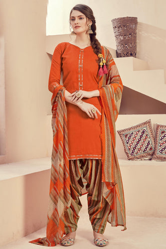 Bhelpuri Orange Pure Zam Jacquard Orange Designer Party Wear Pure Zam Jacquard Patiyala Salwar Suit