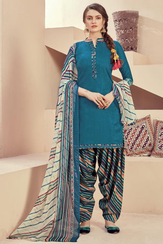 Bhelpuri Teal Blue Pure Zam Jacquard Teal Blue Designer Party Wear Pure Zam Jacquard Patiyala Salwar Suit