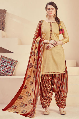 Bhelpuri Cream Pure Zam Jacquard Cream Designer Party Wear Pure Zam Jacquard Patiyala Salwar Suit
