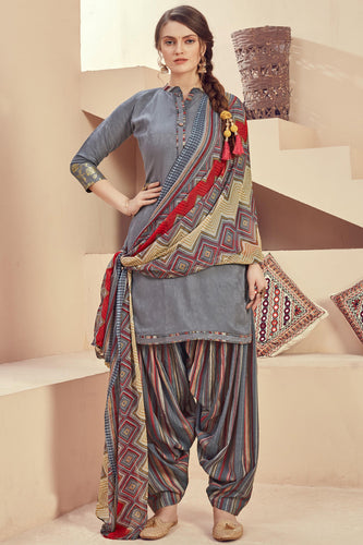 Bhelpuri Grey Pure Zam Jacquard Grey Designer Party Wear Pure Zam Jacquard Patiyala Salwar Suit