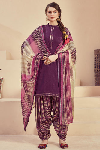 Bhelpuri Purple Pure Zam Jacquard Purple Designer Party Wear Pure Zam Jacquard Patiyala Salwar Suit
