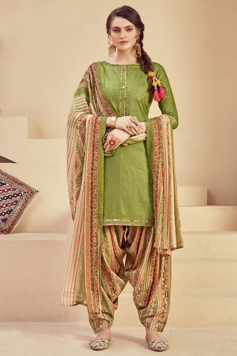 Bhelpuri Green Pure Zam Jacquard Green Designer Party Wear Pure Zam Jacquard Patiyala Salwar Suit