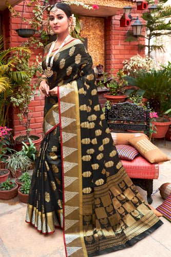 Bhelpuri Black Cotton Handloom Woven Traditional Saree with Blouse Piece