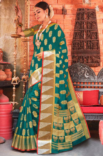 Bhelpuri Rama Green Cotton Handloom Woven Traditional Saree with Blouse Piece