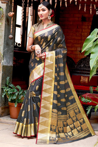 Bhelpuri Grey Cotton Handloom Woven Traditional Saree with Blouse Piece